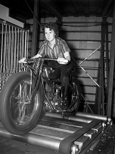 Random photo… woman on a motorbike on rollers at the 1938 Minnesota State Fair…