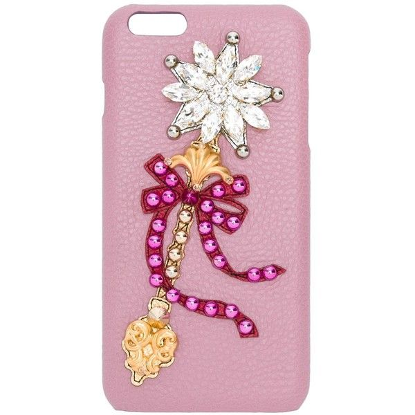 Dolce & Gabbana embellished wand patch iPhone 6 Plus case (11.428.795 IDR) ❤ liked on Polyvore featuring accessories, tech accessories and pink