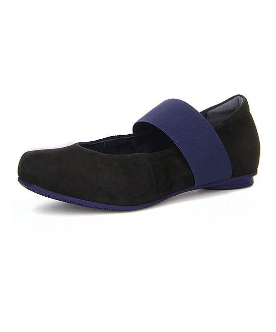 Black & Kombi Suede Strap Ballet Flat