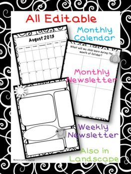 Editable Calendars And Newsletters Black And White  Monthly