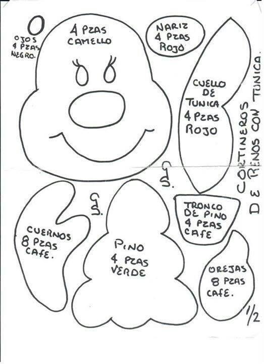 Molde para cortinero reno cortinero christmas crafts for Manualidades renos navidenos