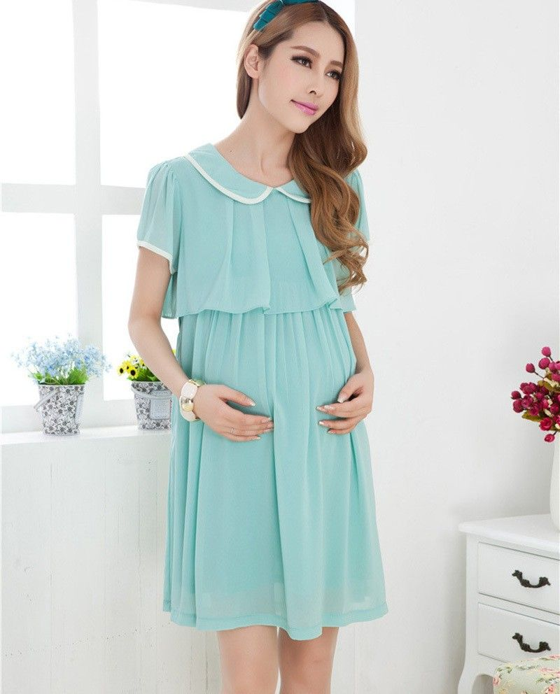 Maternity Dresses Chiffon Dress Long Pleated Skirt Pregnancy Clothes ...