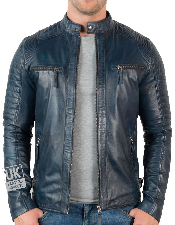 Mens Navy Leather Biker Jacket UK LJ Chaqueta hombre