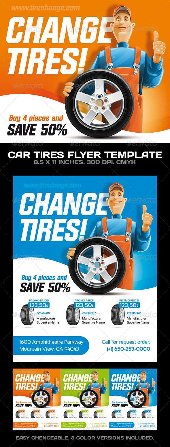 Car Tires / Car Service Flyer Template | Shops, Cars and Fonts