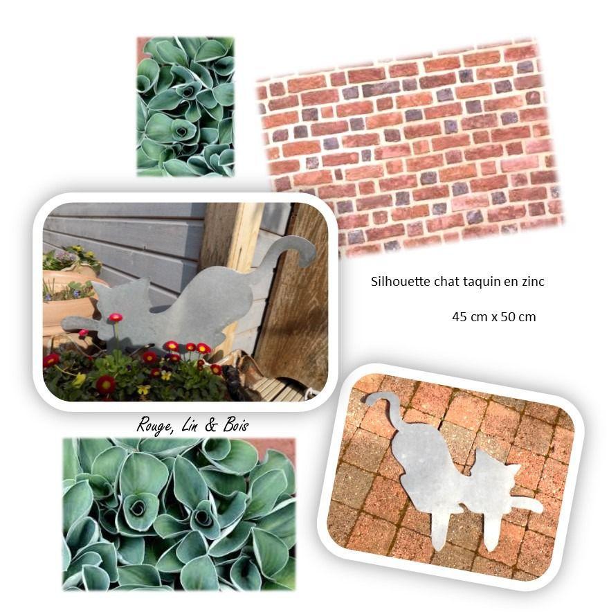 Silhouette chat coquin décoration de jardin en zinc à planter ...