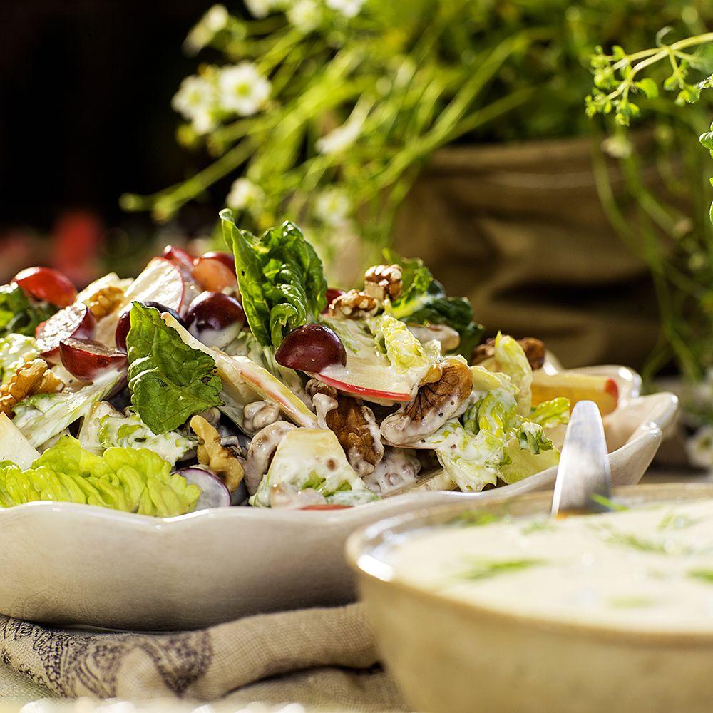 waldorfsalat med rømme og majones
