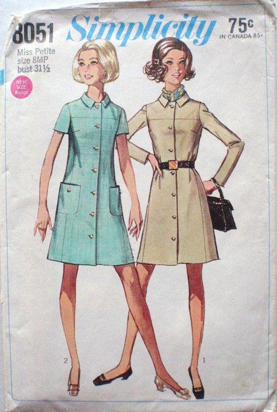 Simplicity 8051 - Misses Petite 1960\'s Coat Dress Sewing Pattern ...