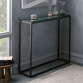 Box Frame Narrow Side Table Glass Antique Bronze West