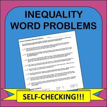 inequality word problems self checking worksheet the math factory word problems common core. Black Bedroom Furniture Sets. Home Design Ideas