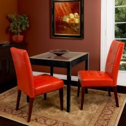 @Overstock - This set of two beautiful tufted bonded-leather dining chairs add comfort and style to any room. This chair features an extra wide seating design, overstuffed seat cushion, a burnt orange upholstered color and an espresso finish.http://www.overstock.com/Home-Garden/Tufted-Burnt-Orange-Leather-Dining-Chair-Set-of-2/5996833/product.html?CID=214117 $197.22
