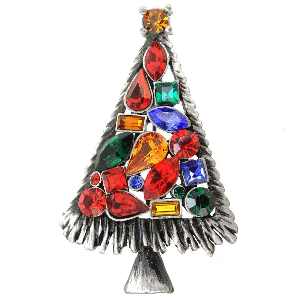 Multi-Color Christmas Tree Pin Brooch