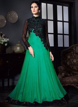 4a9f6a76a3 Teal Embroidery Thread Work Stone Work Satin Silk Party Wear Long Gown. Buy  Online Shopping Gown At -UK
