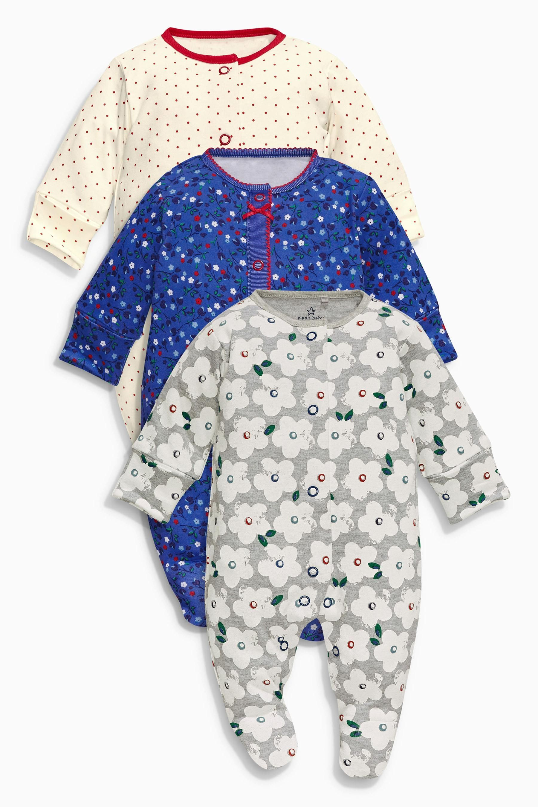 23615930ca74 Buy Navy Floral Sleepsuits Three Pack (0mths-2yrs) from the Next UK ...