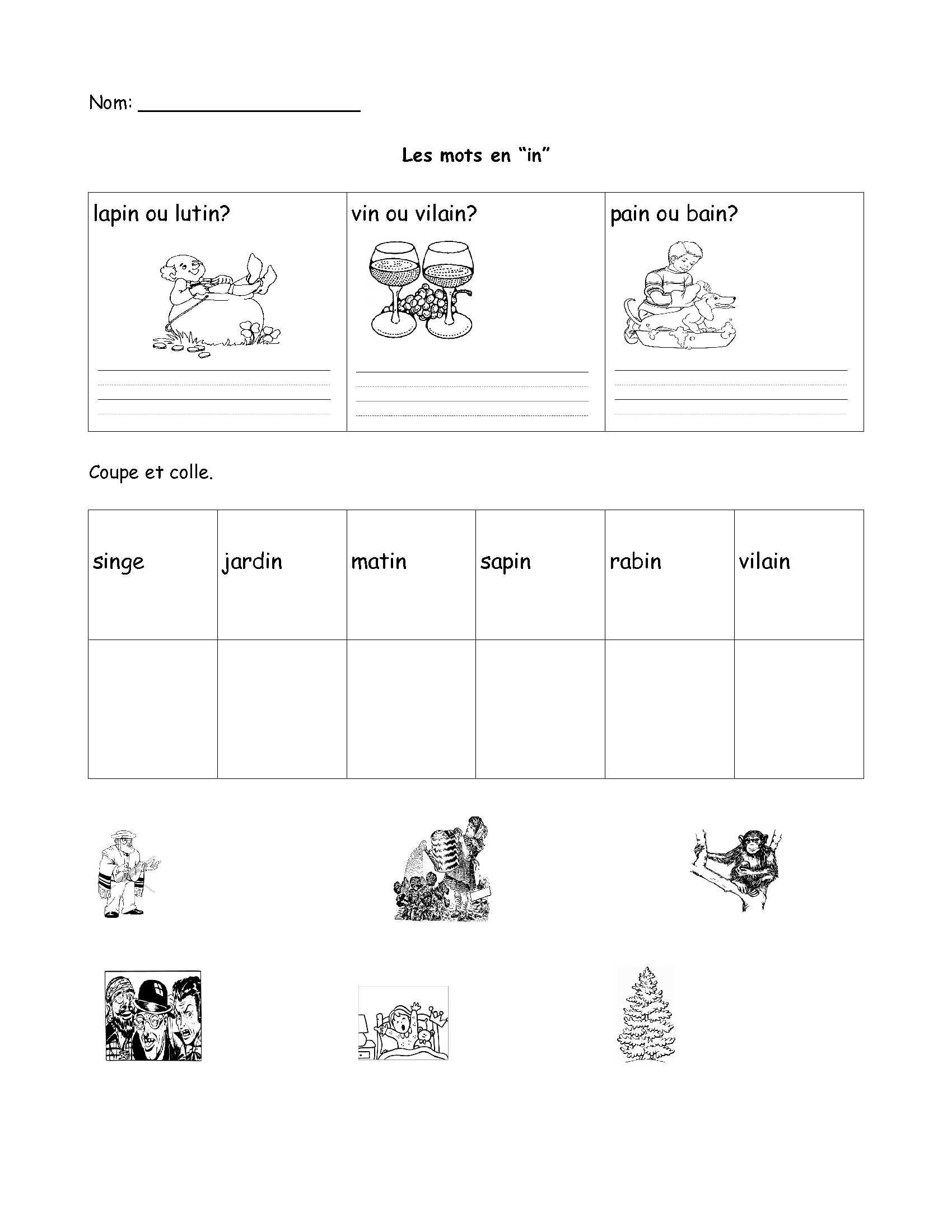 small resolution of Free French worksheet- grade 1