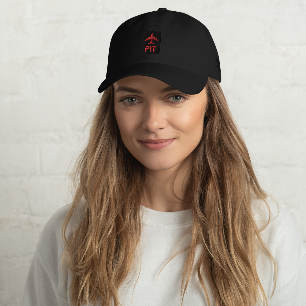 PIT Pittsburgh Baseball Cap • Jetliner Design with Airport Code • Black and Red Embroidery