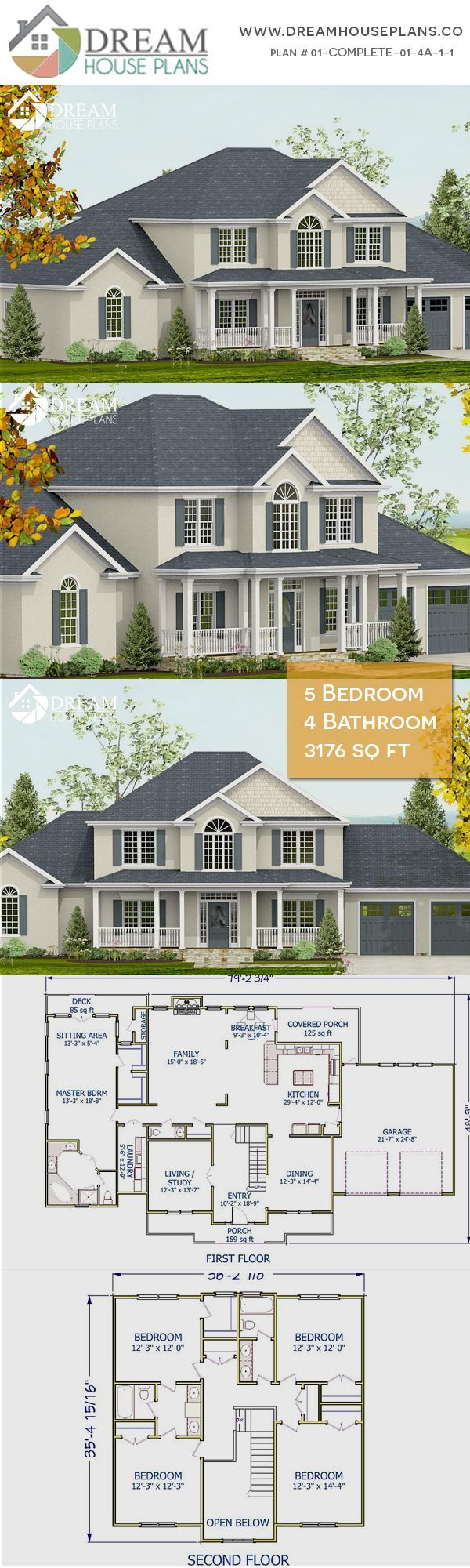 Dream House Plans Affordable yet luxury Southern 5 Bedroom 3176 Sq Ft house