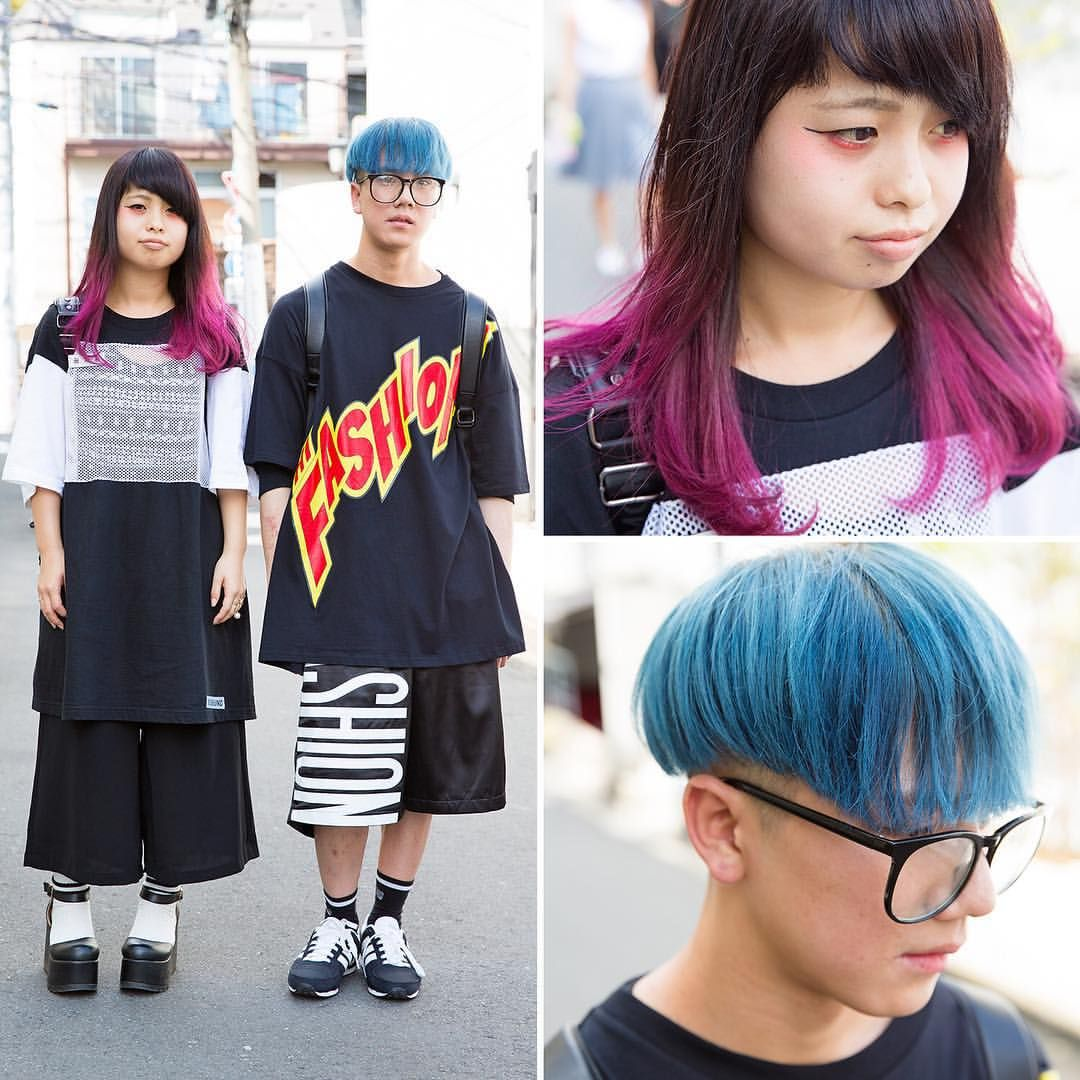 Manami (19) and Yoshihide (20) on the street in Harajuku with colorful hair and oversized fashion from Joyrich, Monomania, Doss Around, WEGO, and MCM.