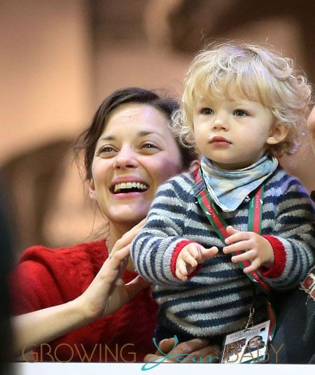 Marion Cotillard And Son Marcel Cheer For Partner Guillaume