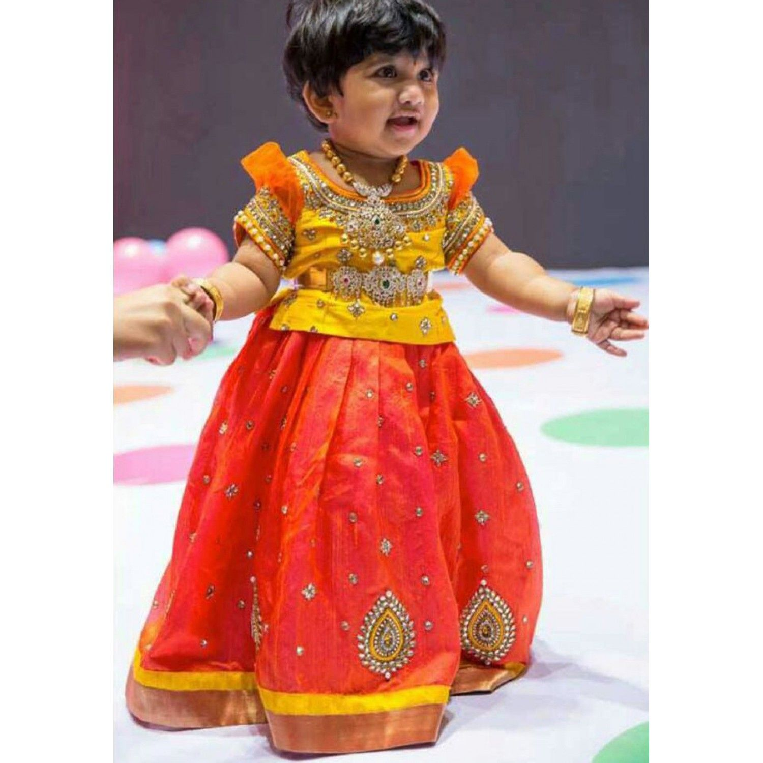 Yellow And Orange Pure Raw Silk Pattu Langa Kids Lehenga