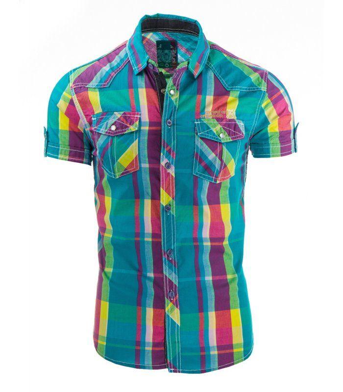 72e61dd384 Výborná pánska kockovaná košeľa s krátkym rukávom. Kockovaná  tyrkysovo-fialová Klasický trend v pánskej móde. Model ľahko zúžený - slim  fit.