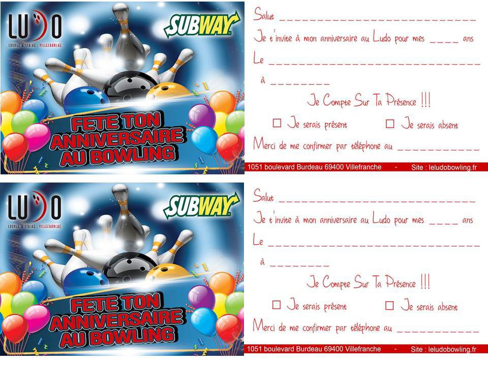 carte d invitation anniversaire bowling