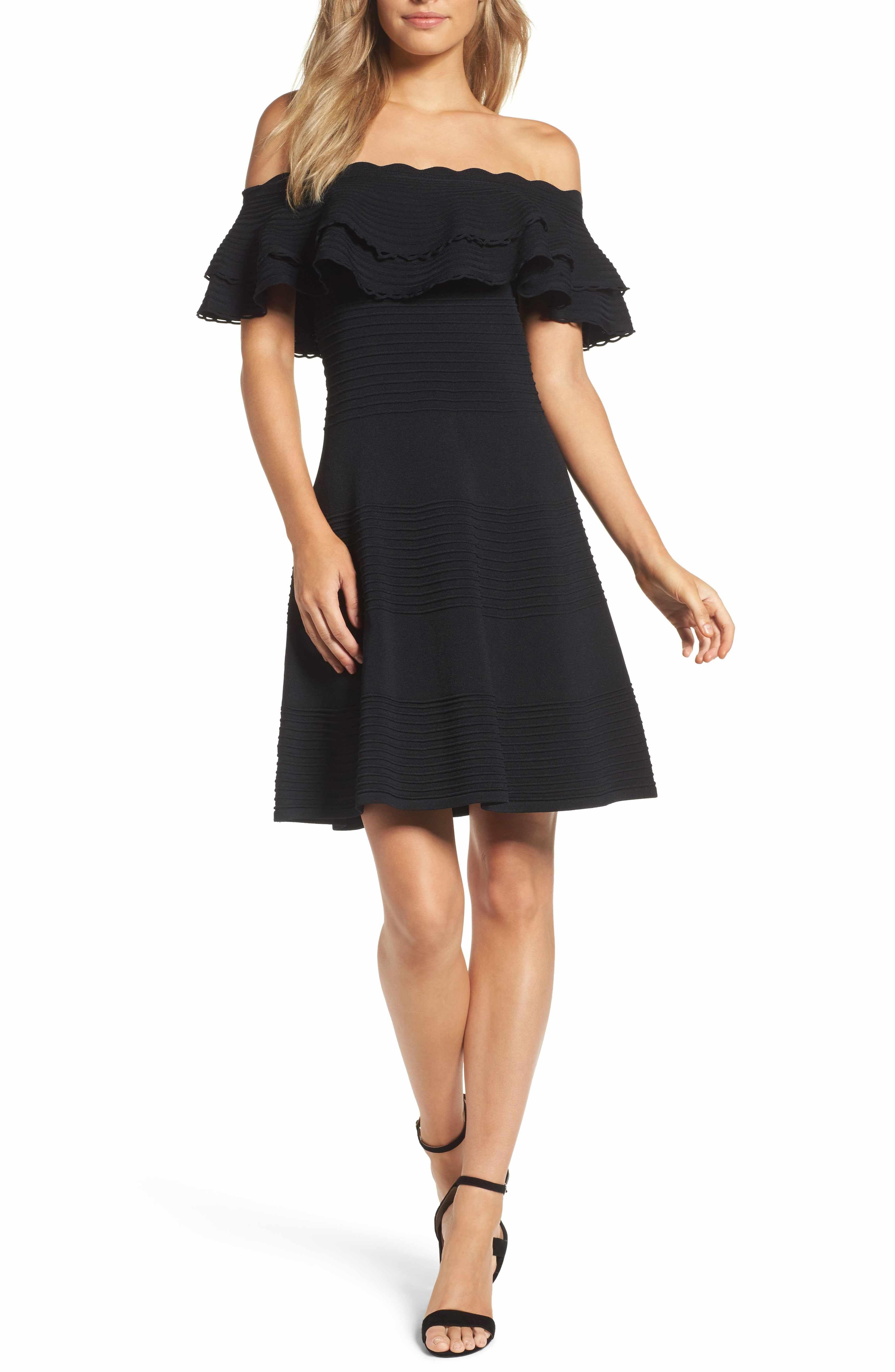 6d7a909e32a7c Main Image - Eliza J Off the Shoulder Fit   Flare Dress (Regular   Petite)
