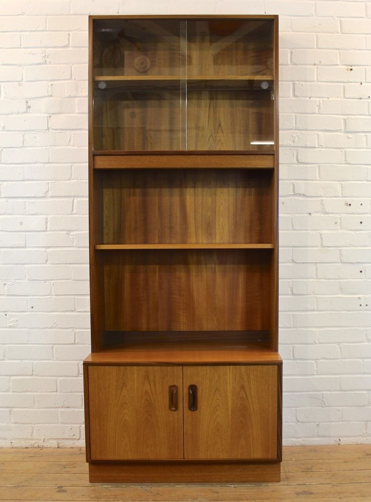 Vintage G-Plan Fresco Teak Wall Unit Bookcase Glass Display Cabinet ...