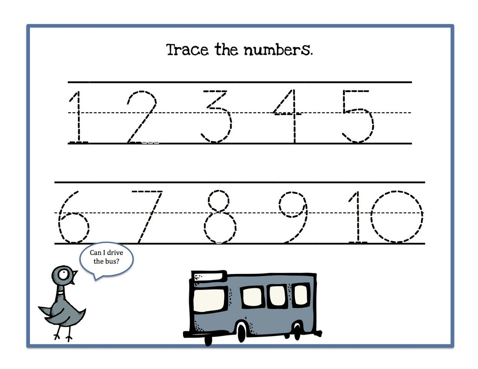 Trace The Numbers 1 10
