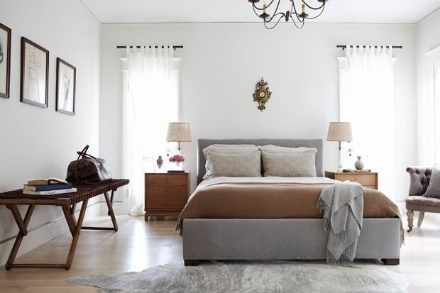 Really love this. Mix of neutral colors, light and airy, mid century bench, chandelier