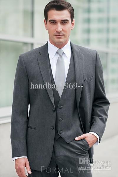 2018 Custom Design Dark Grey Notch Lapel Groom Tuxedos Best Man Suits Groomsmen Men Wedding Jacket Pants Vest Tie Aa 476 From Handbag1969 86 77