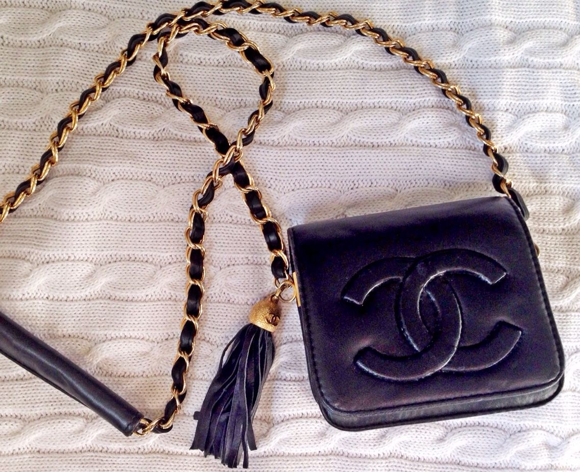 Small Vintage 1970s Chanel Cross Body Quilted Black Kid