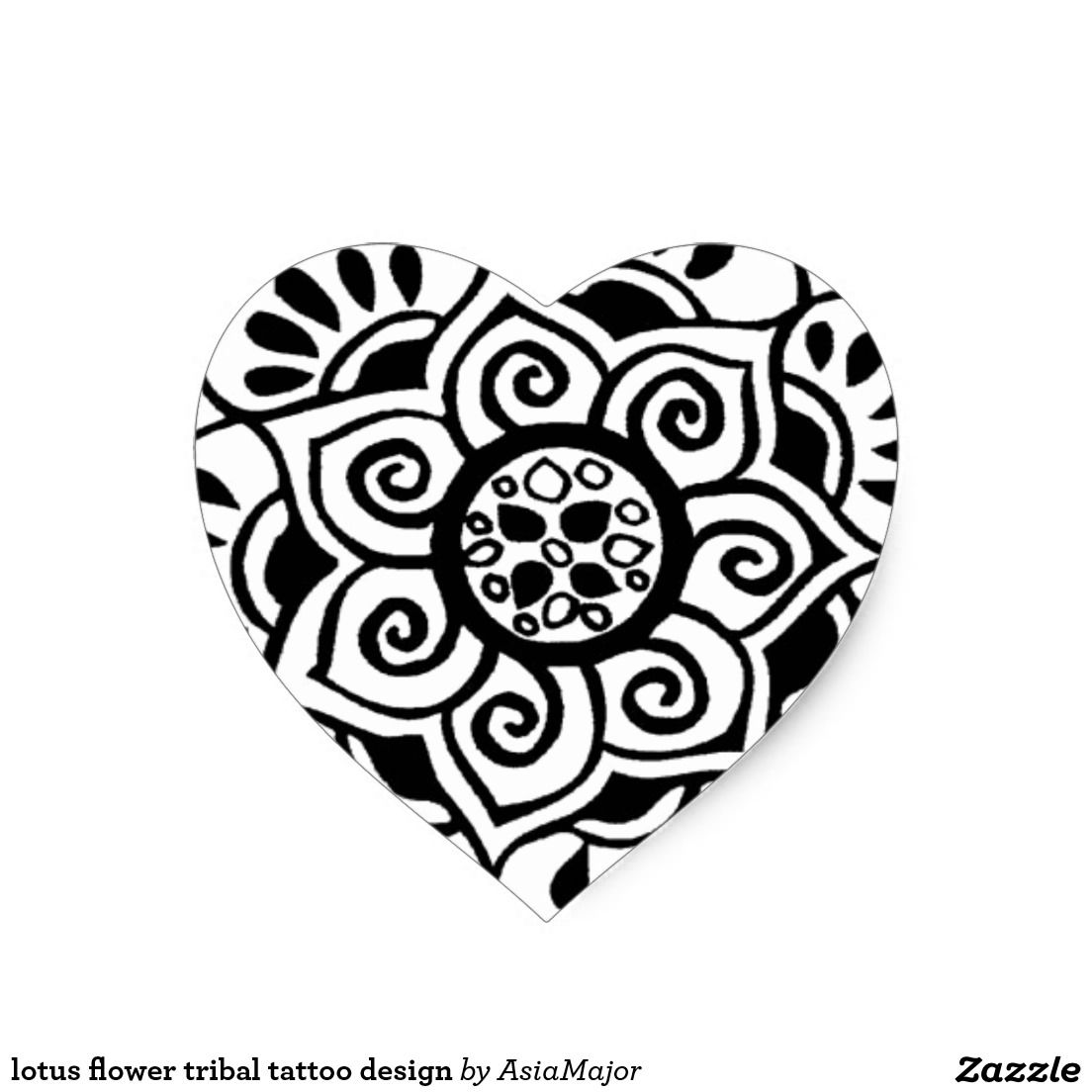 Lotus Flower Tribal Tattoo Design Heart Sticker Tribal Flor