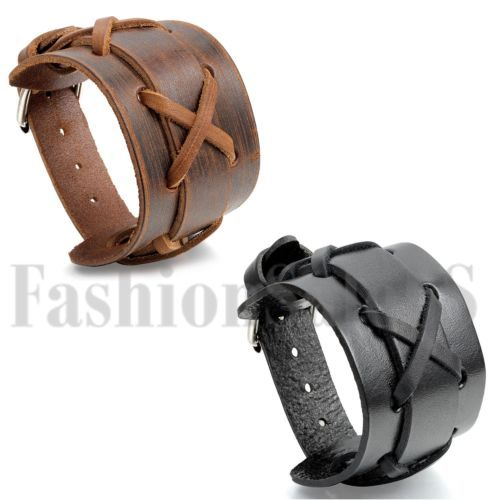Punk Rock Men S Wide Leather Braided Bracelet Cuff Adjule Bangle Wristband