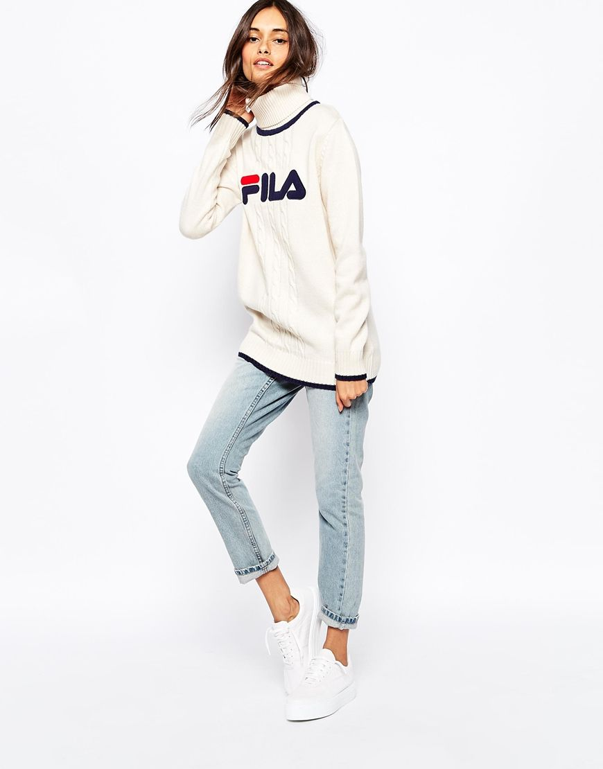 Image 4 of Fila High Neck Oversized Jumper With Front Logo
