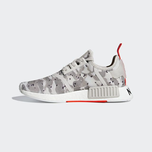 87b7aceaf NMD R1 Shoes Chalk White   Chalk White   Solar Red G27932