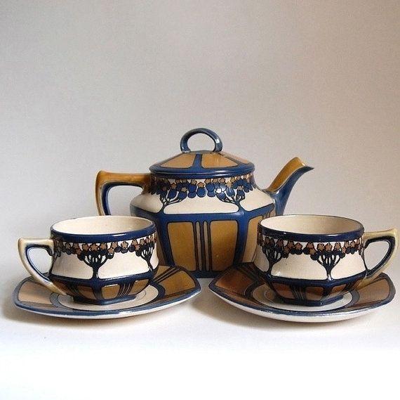 tea set rare mettlach villeroy boch art nouveau home decor tableware antique jugendstil etched. Black Bedroom Furniture Sets. Home Design Ideas