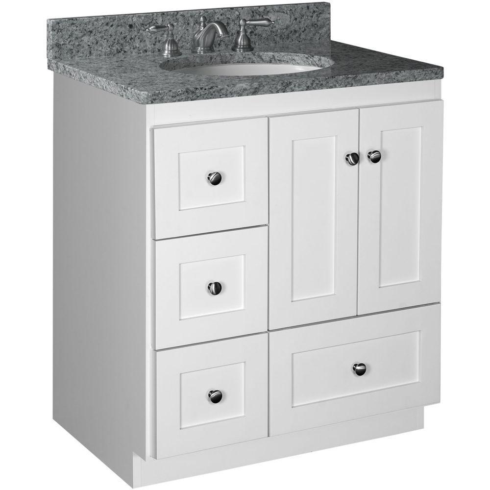 Simplicity By Strasser Shaker 30 In W X 21 In D X 34 5 In H Vanity With Left Bathroom Vanities Without Tops 30 Inch Bathroom Vanity Bathroom Vanity Drawers [ 1000 x 1000 Pixel ]