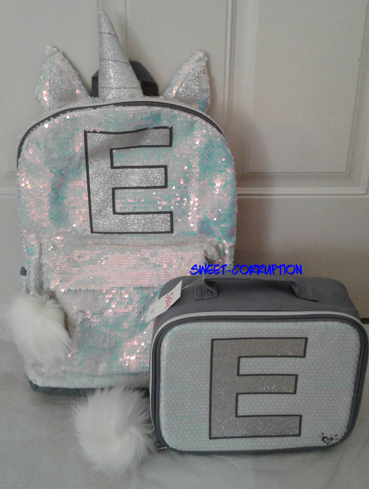 d9376f270ce5 Backpacks 57917  Justice Unicorn E Initial Letter Backpack Lunch Tote Box 2  Pc Set Girls -  BUY IT NOW ONLY   98.98 on eBay!