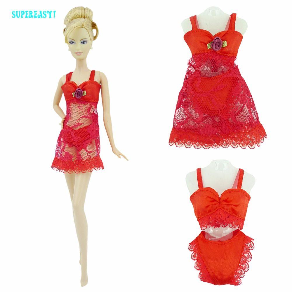 Free shipping Red Sexy Pajamas Lingerie Nightwear Lace Night Dress ...