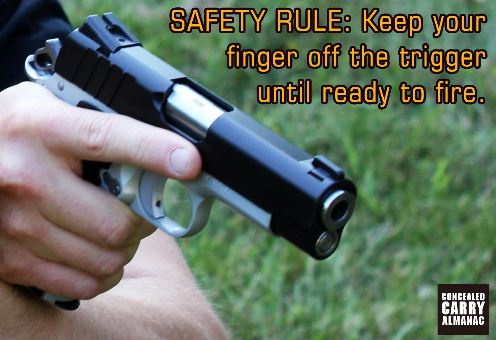 """Firearm safety rule regularly violated. """"Keep your finger"""