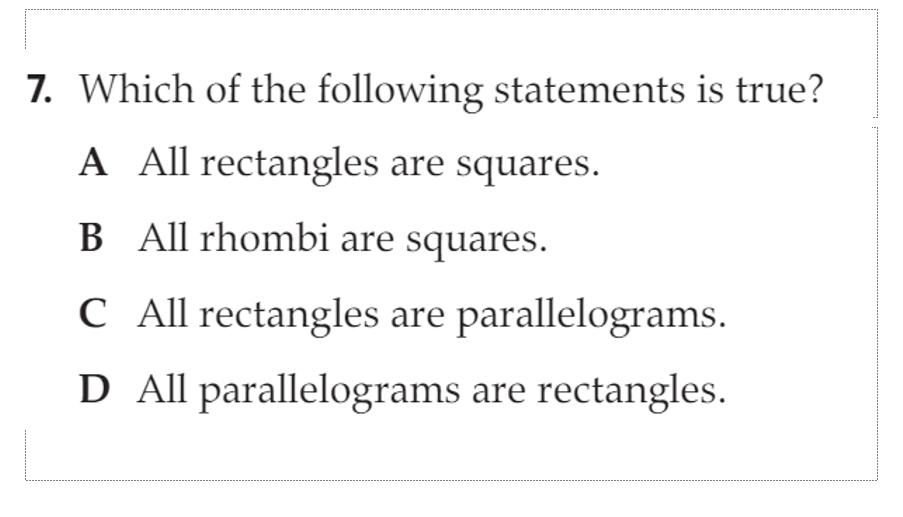 الرياضيات المتكاملة بوربوينت مراجعة بالإنجليزي للصف الثامن Parallelogram Statement True