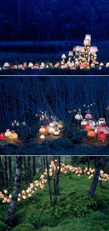 Lamp installations by Norwegian artist Rune Guneriussen. They look like little glowing mushrooms in a magical fairytale.