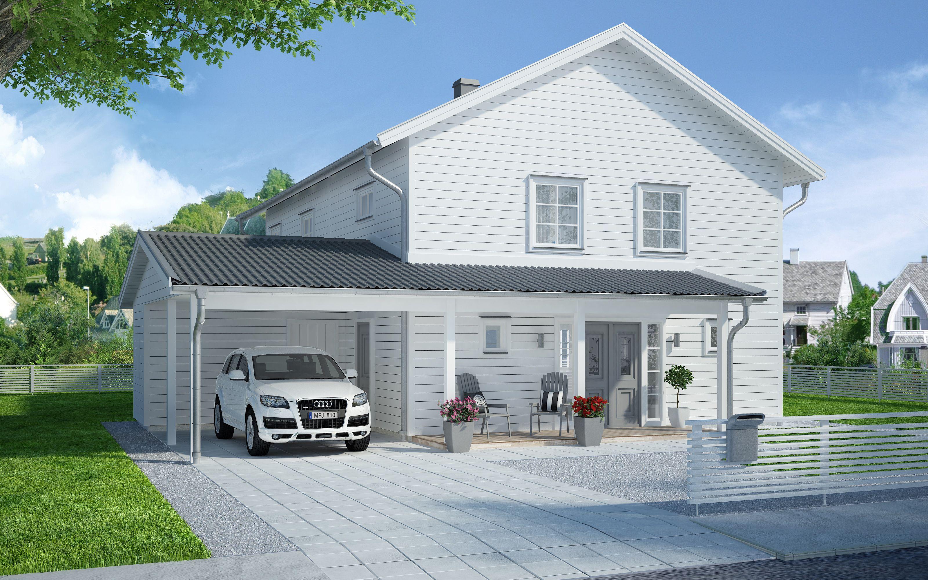 Carport. Generöst och traditionellt Ett traditionellt hus