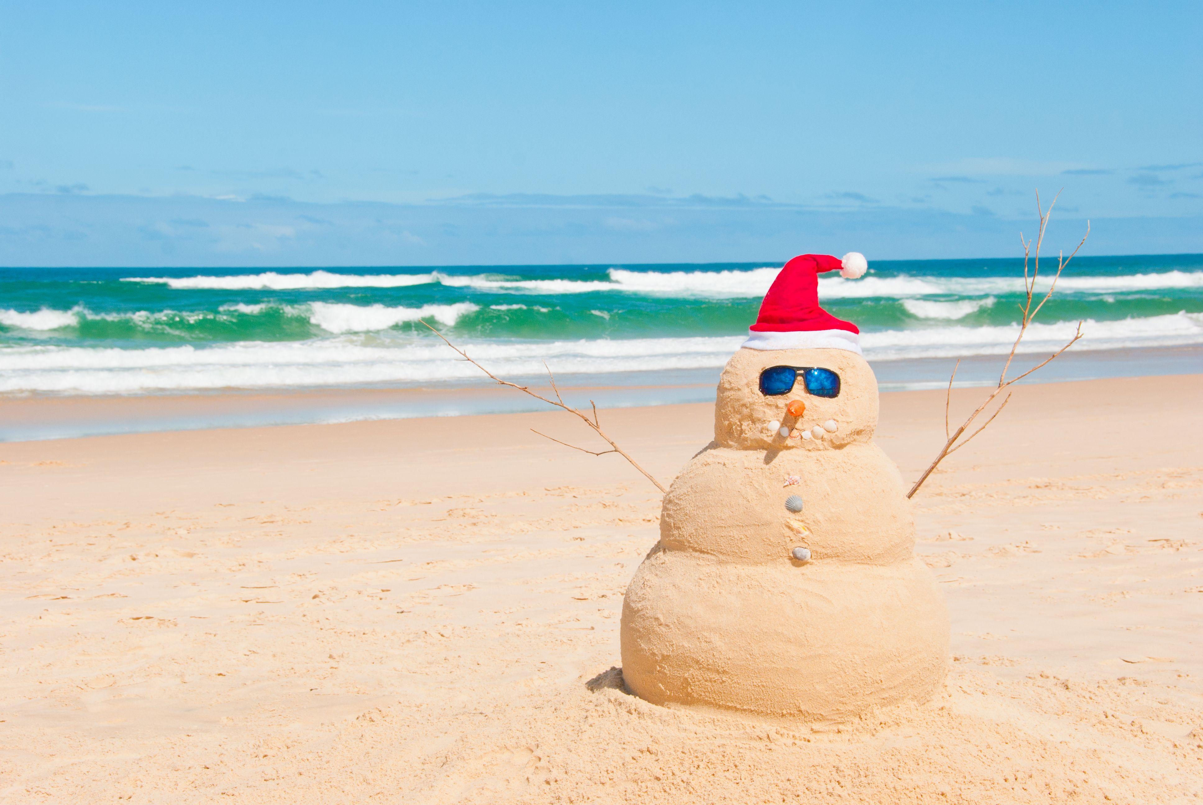 Sandman Snowman Summer Beach christmas, Australian