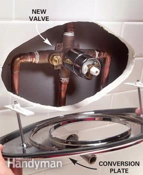 How To Replace A Two Handle Shower Valve With A Single Handle Unit With Images Shower Valve Shower Faucet Repair Diy Plumbing