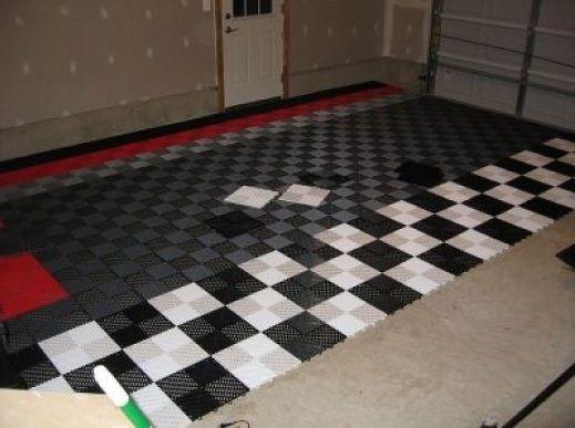 Black And Grey Vinyl Tile Garage Flooring Flooring Ideas Floor