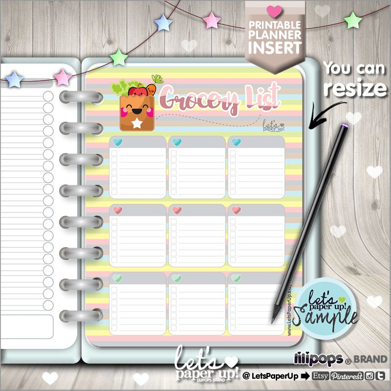 Grocery List Printable Planner Planner Insert Food Planner