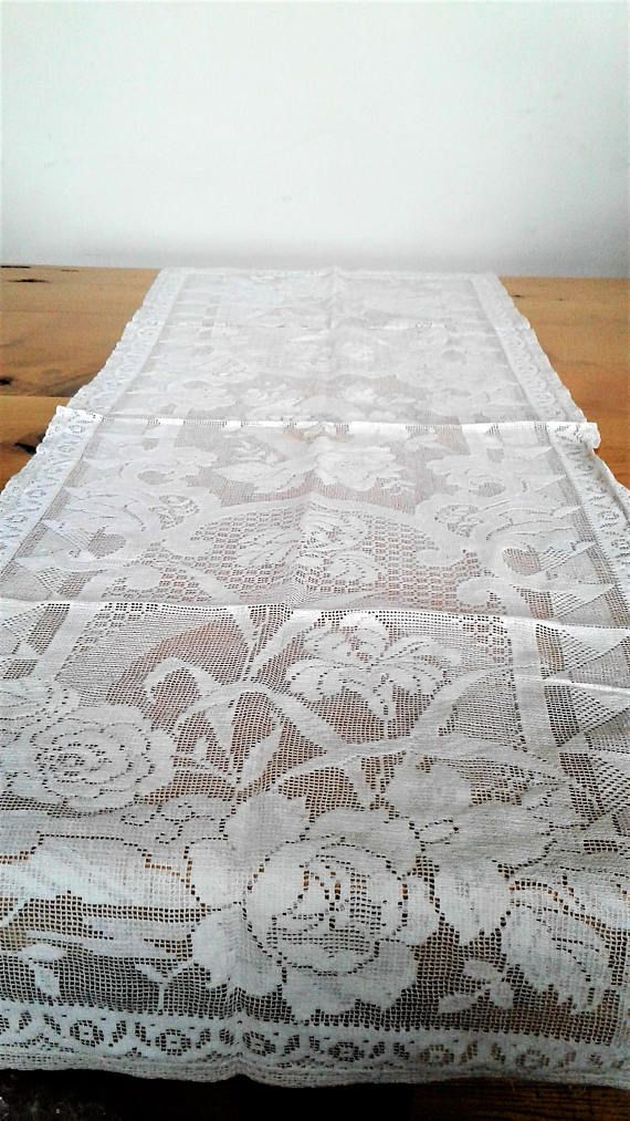Large Rectangular Filet Crochet Table Runner By Shurleyshirley Crochet Table Runner Pattern Crochet Table Runner Filet Crochet