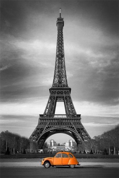 Tableau Toile Decorative Citroen 2cv Orange Et Tour Eiffel En Noir Et Blanc Tour Eiffel Noir Et Blanc Affiche De Paris