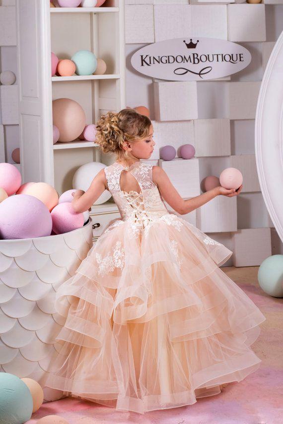 Blush Beige Lace Tulle Flower Girl Dress - Birthday Wedding party ...